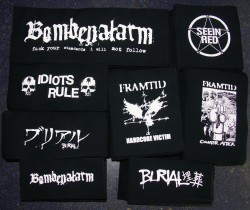 Bombenalarm, Idiots Rule, Seein Red, Framtid, Burial Aufnäher